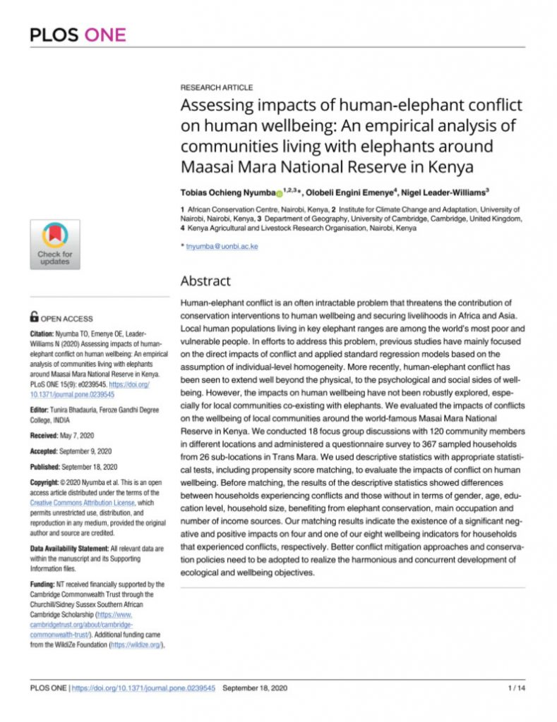 "Dr. Tobias Nyumba, Published Article ""Human Elephant Conflict' in Maasai Mara"